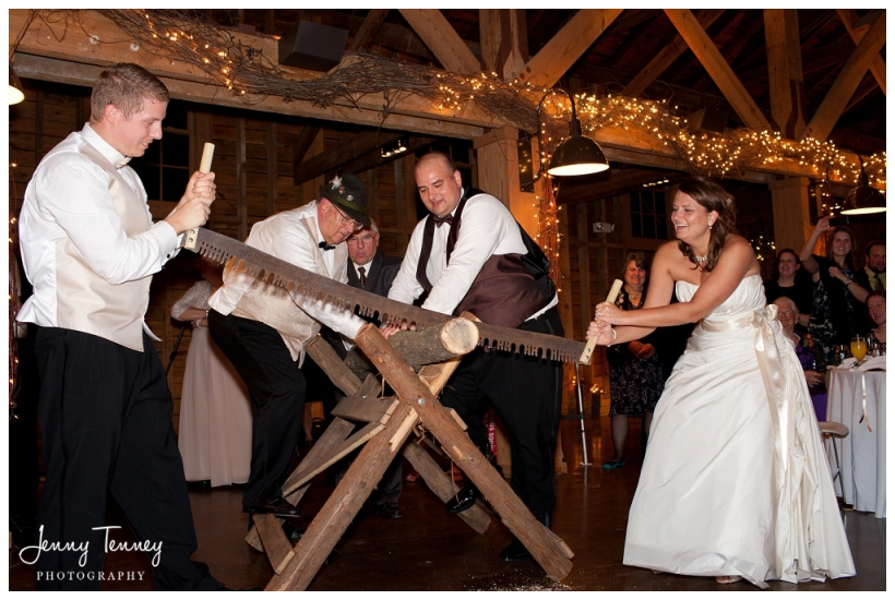 German wedding log sawing