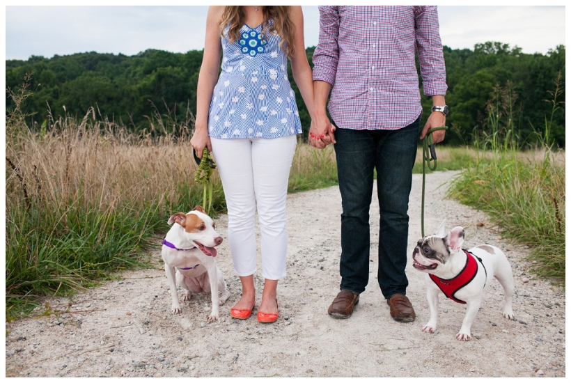 Raleigh engagement with dogs