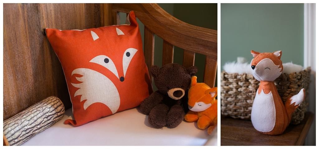 Hickory Newborn Portraits, woodland creatures, fox nursery